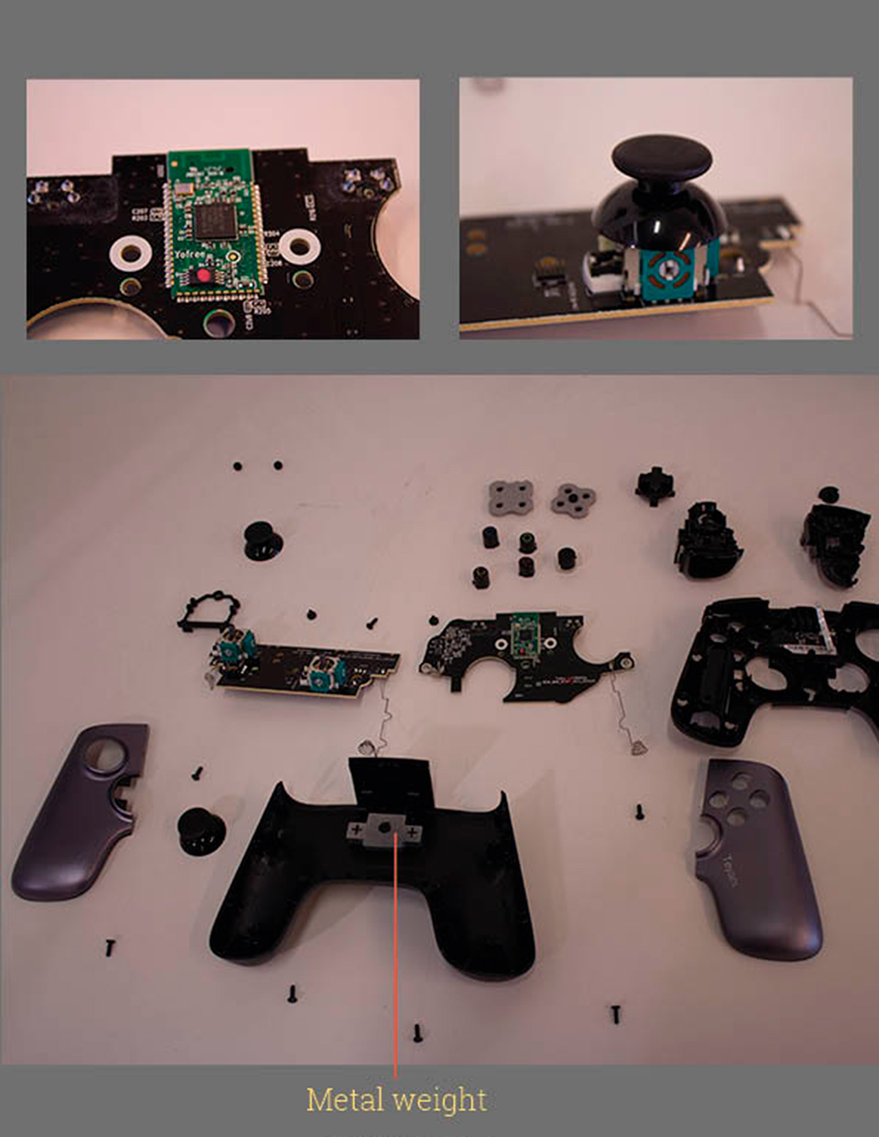 Metal weight inside the Ouya Console Game Controller | Photo by Oliver Damian